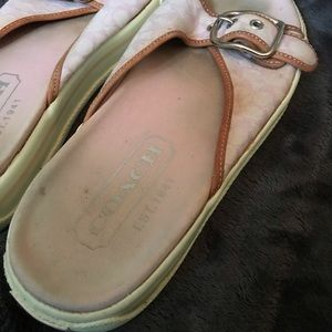 Coach Shoes - Coach Pink Slides  Canvas with Leather trim 61/2